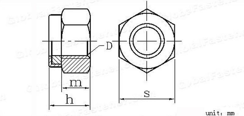 sechskanttypen metrische nylon