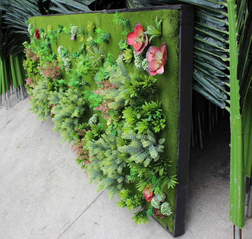 1 2017 Artificial Plant Wall Fake Green Plastic For Home Hotel Decoration