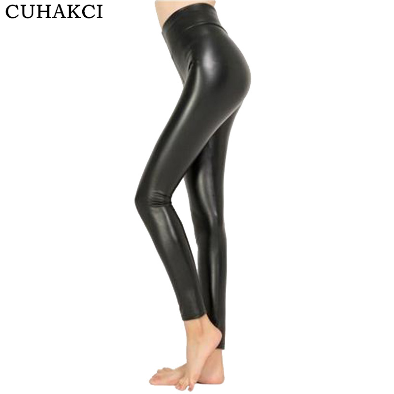 CUHAKCI High Waist Faux Leather Leggings Women Hot Sexy Black Faux Leather Leggings Shiny Pants Stretchy Plus Size Trousers