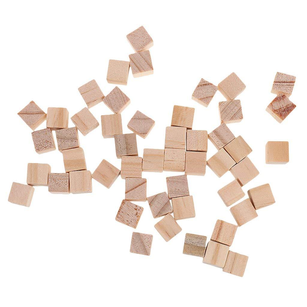 Flameer 100x Wooden Blocks Mini Cubes Embellishment For Woodwork Craft Scrapbooking