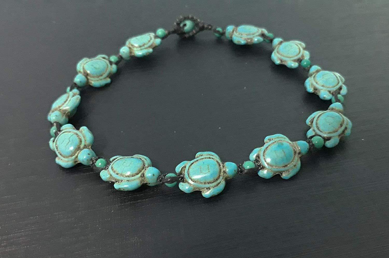 Turquoise turtle stone anklets,men anklets,women anklets,fashion anklets,gift anklets,strands anklets,blue anklets