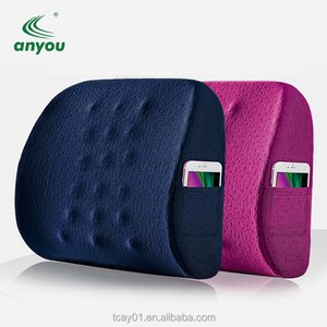 wholesale high quality soft Memory Foam car driver Lumbar Back Support Cushion pillow with Adjustable Strap and Side Pocket