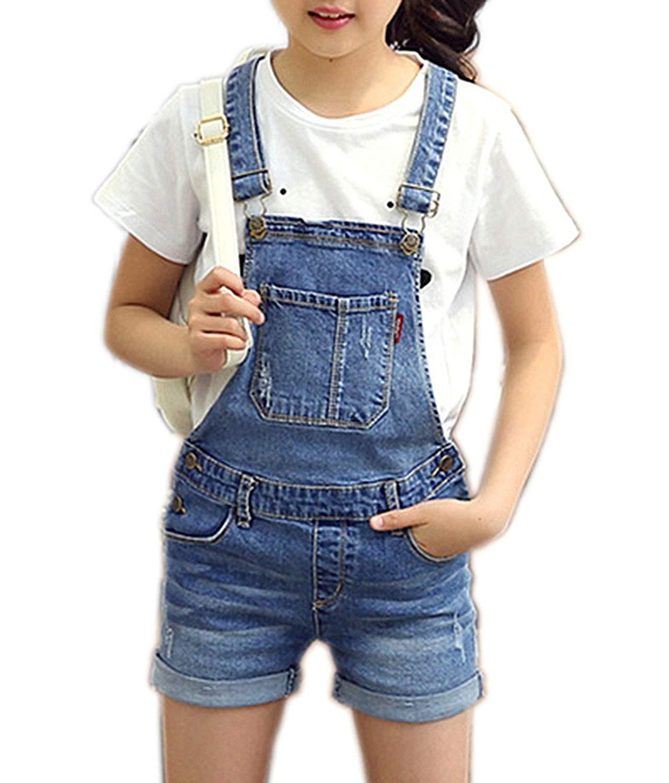 494f6daa6d Get Quotations · Sitmptol Girls Little Big Kids Distressed BF Jeans Cotton  Suspender Denim Bib Overalls 1P
