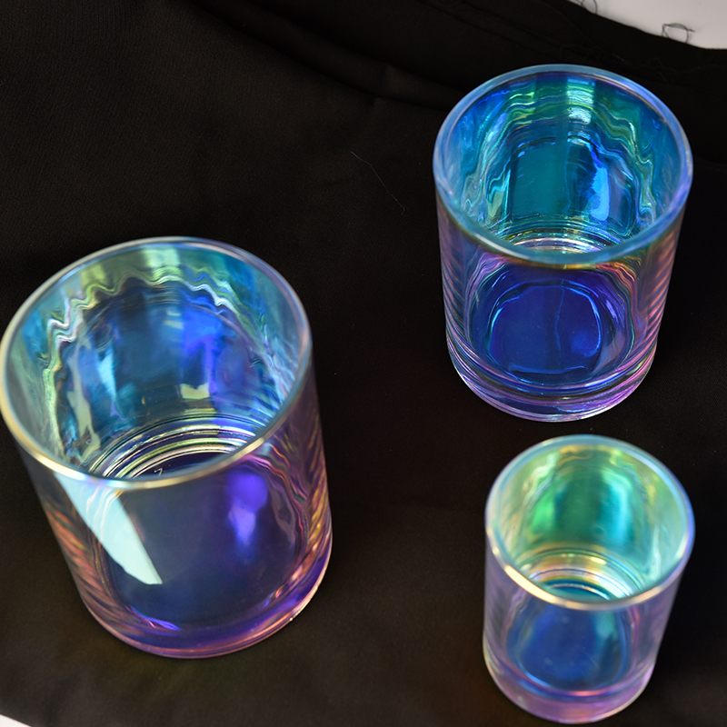 Holographic Effects Glass Candle Holder For Home Decoration