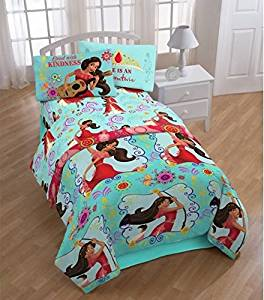 4 Piece Girls Disney Elena of Avalor Flower Power Themed Comforter Twin Set, Cute Animated Character Print, Beautiful Flower Design Pattern, Pretty Character Reversible Bedding, Black Blue Brown Multi