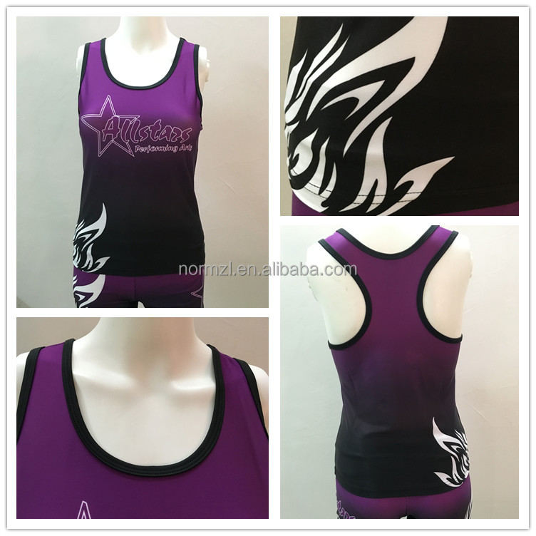 Digital printing custom cheerleading uniform cheer sport bra and shorts