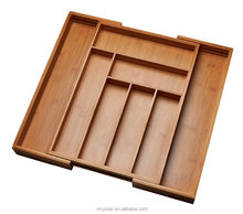 expandable bamboo cutlery tray organizer holder factory BSCI