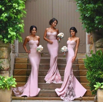 Hot Sale Satin Lace Sexy Mermaid Lilac Bridesmaid Dresses 2016 Robe Mariage Vestido Longo Spaghetti Straps Backless Court Train