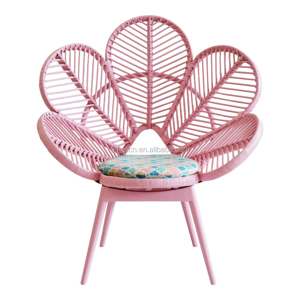 Pink and green cute school furniture flower shaped pe for Sillones de rattan