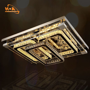 Hotel hall mounted ceiling rectangle large crystal chandelier