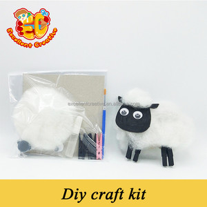 Hot Fashion Handmade Children Toy Diy Sheep Dragonfly Giraffe Goat Horse Monkey Animal Wooden Clip Diy kits for children