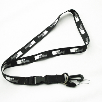 Id card holder and lanyard with badge heat transfer printing black polyester short adult neck lanyard