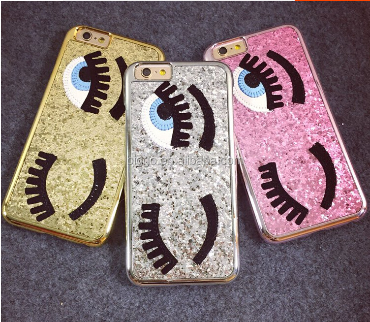 Glitter powder fashion Bling big eyes eyelashes PC Plating back Cover phone case for iphone x 67 88 plus