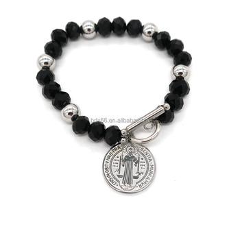 Catholic Rosary Beads Pray Bracelet Wholes Stainless Steel S Saint Benedict Cross Medal Muslim Jewelry