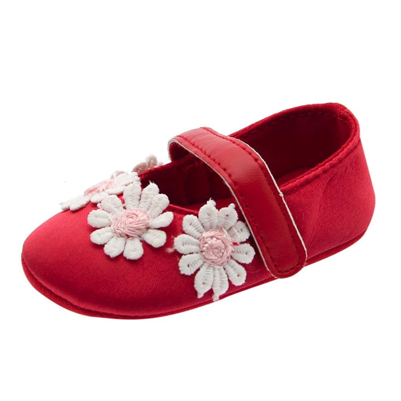 Newborn Infant Baby Girls Mary Jane Shoes Flower Print Soft Sole Anti-Slip Single Shoes