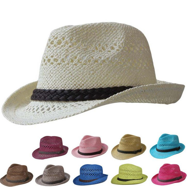 Wholesale Retail 2015 Solid  Breathable Fashion Fedora Straw Trilby Summer Casual Gorras Men Women Free Shipping