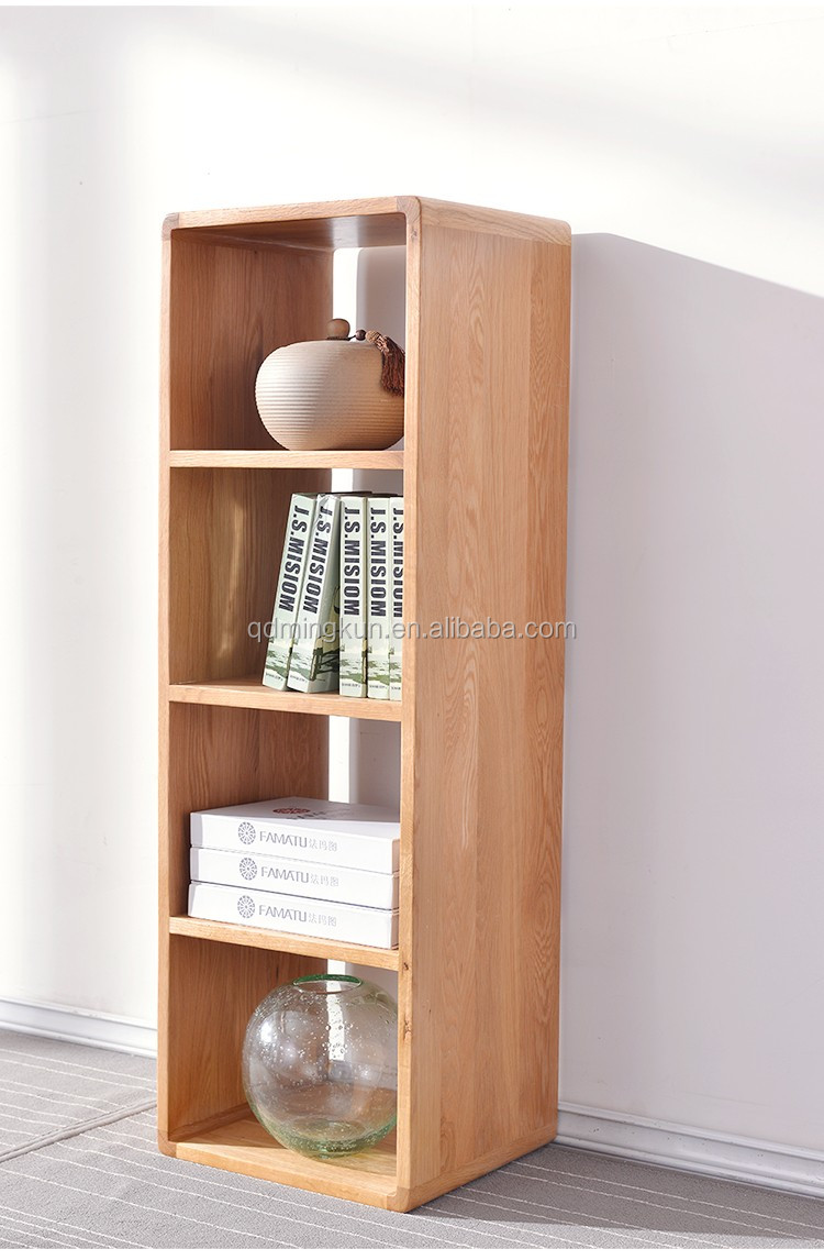 Solid white oak wood bookcase wooden carved bookshelf