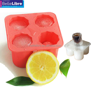 Wholesale 4 cavity food grade silicone ice cube cups and whiskey ice cube maker ice cup tray mold