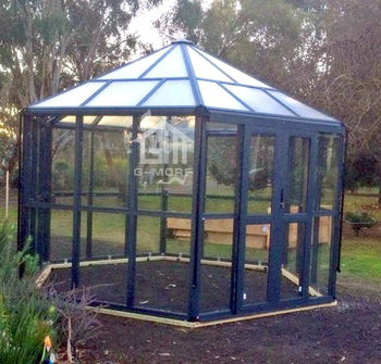 G-MORE Multifunctional Aluminum Frame Large Outdoor Hexagonal Glasshouse / 13'x12' Glass Sunrooms Spa Room Drivhus