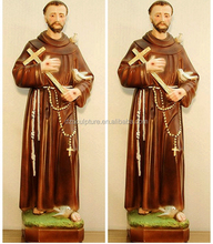 Hot sale praying fiberglass st francis statue with holding cross