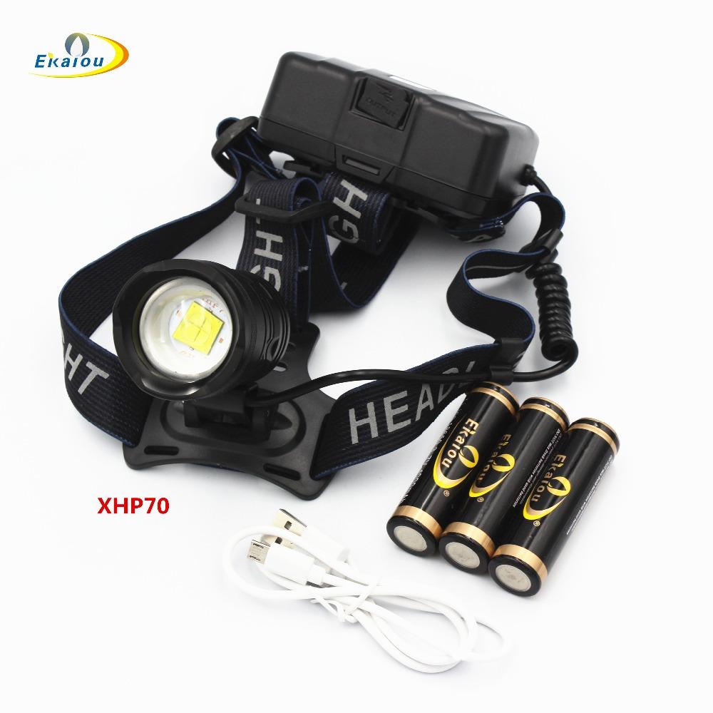50W chip XHP70 Headlight 32000lum powerful Led headlamp zoom Head light head lamp flashlight torch Lantern