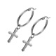 Wholesale Custom Stainless Steel Round Shape Celtic Silver Color Hanging Cross Earrings for Men