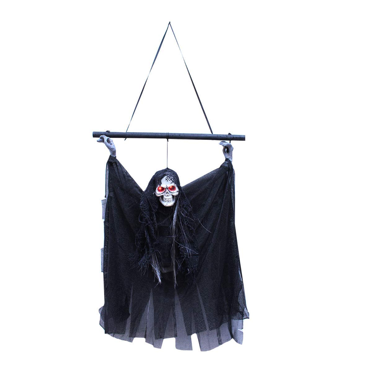 Aisa Animated Skeleton Ghost Batmen Halloween Decoration Hanging Prop with Haunted Laugh, Glowing Red Eyes, Battery Operated