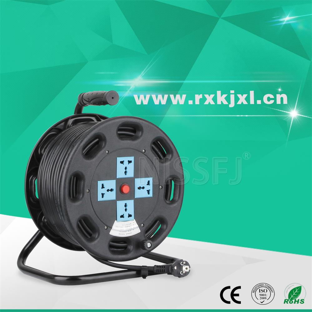 Low price 220V plastic ake-up 3 sockets extension cable reel