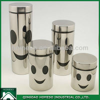 Tea Sugar Coffee Stainless Steel Coated Glass Canister Set ...