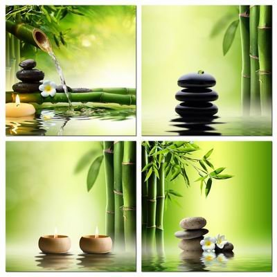Pyradecor Modern 4 Panel Stretched and Framed Contemporary Zen Giclee Canvas Prints Perfect Bamboo Green Pictures on Canvas Wall Art for Home Office Decorations Living Room Bedroom