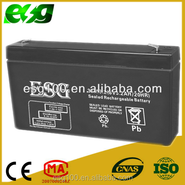 Horizontal type UPS battery 6v 3.2AH rechargeable lead acid battery emergency lighting