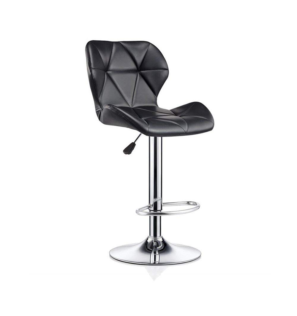 ZRXian-Barstools Bar Stools Bar Kitchen Breakfast Stool Padded Dining Chair with Backrest Black PU Seat Bar Chair High Stool Swivel Counter Chair Adjustable Height