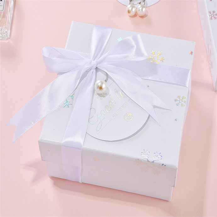 Luxury sliver hot stamping square paper gift packaging box with lid