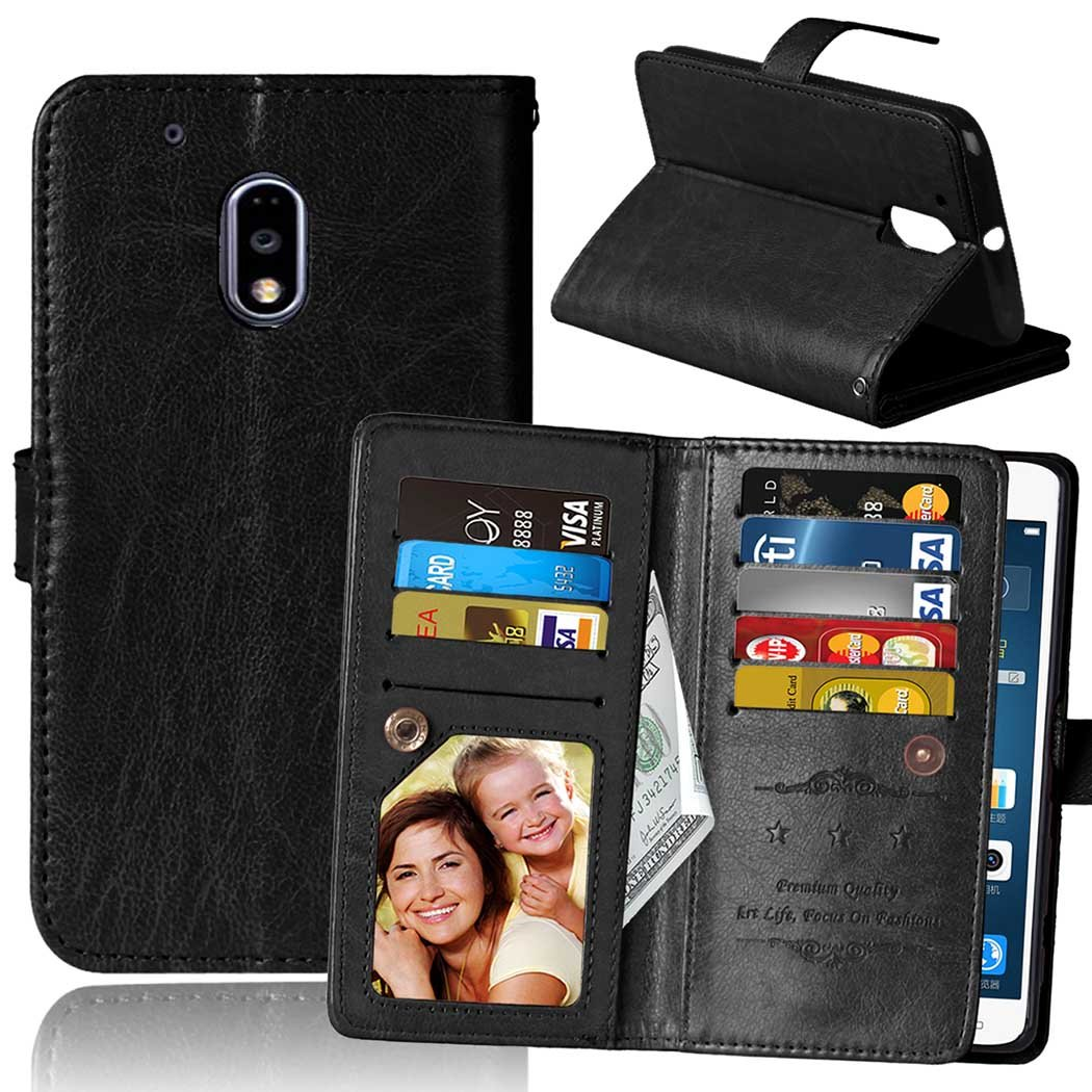 Moto G4 Play Case, Moto G Play Case, SUMOON Luxury Fashion PU Leather Magnet Wallet Credit Card Holder Flip Case with Built-in 9 Card Slots & Stand For Motorola Moto G4 Play/Moto G Play (Black)
