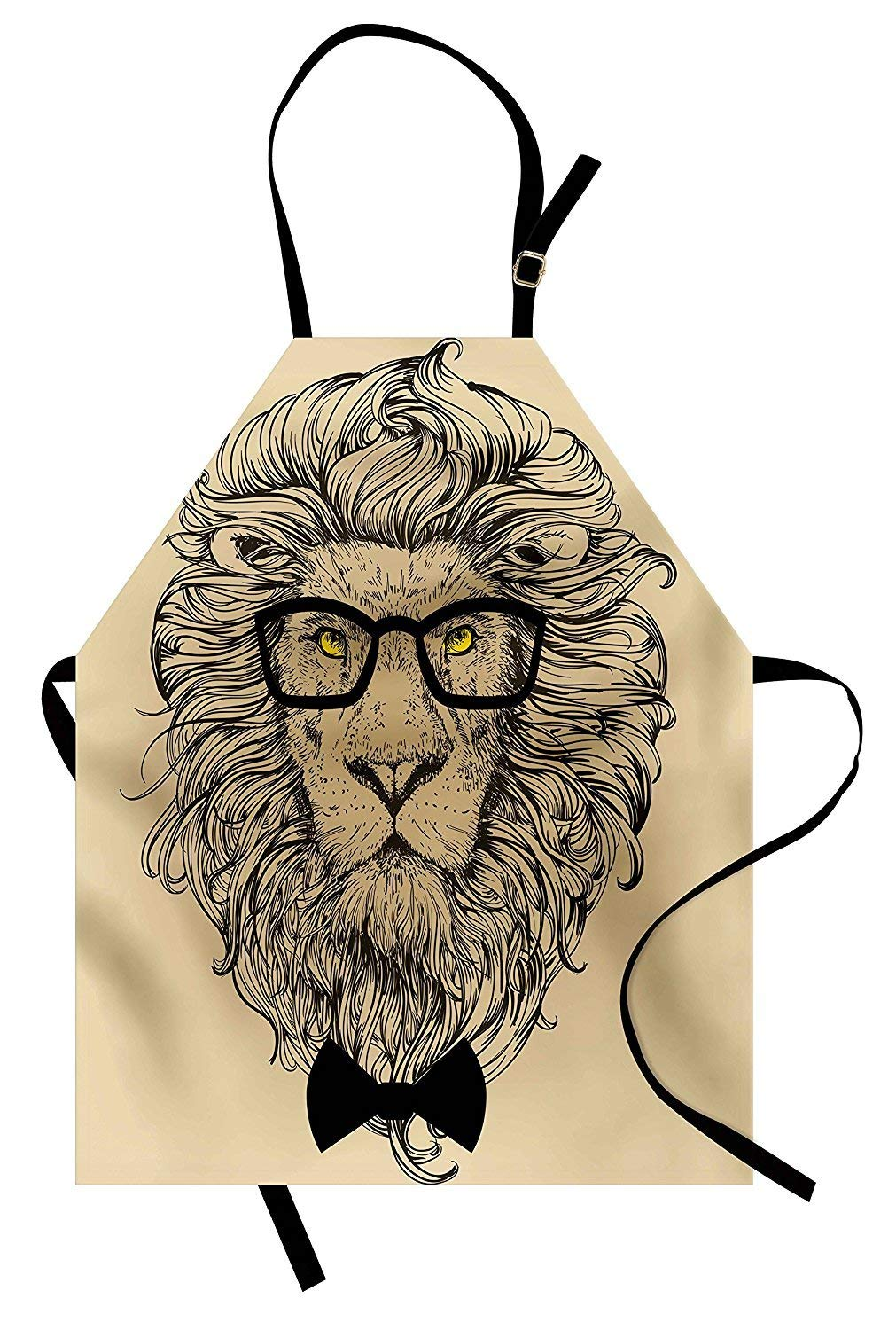 PMNADOU Indie Apron, Lion Character Portrait with Glasses and Bowtie Hipster Smart Cool Dandy, Unisex Kitchen Bib Apron with Adjustable Neck for Cooking Baking Gardening, Sand Brown Black Yellow