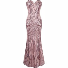 B32505A OEM latest design China factory Off-Shoulder gold sequined gown women evening dress