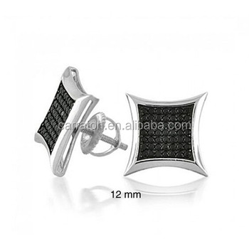 Sterling Silver Earrings Mens Hip Hop Stud Micro Pave Setting Men Jewelry