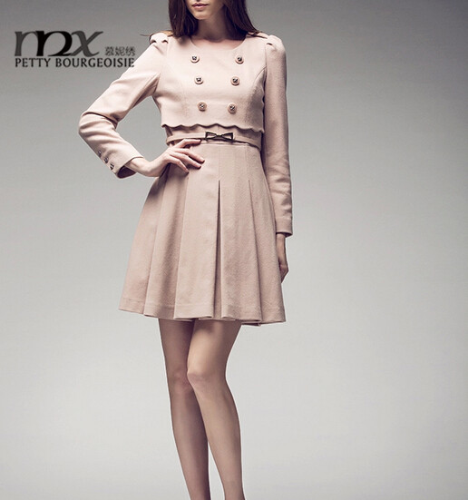 2014 women spring autumn long sleeve up&down woolen skirt