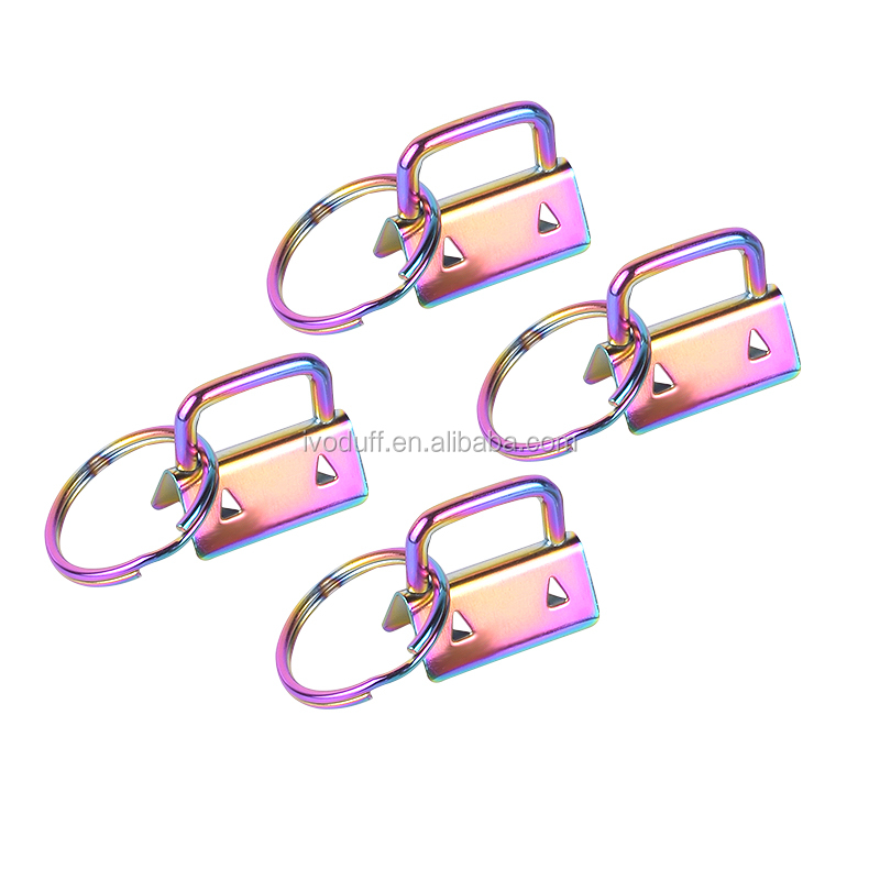 New Arrival Ivoduff 25MM Rainbow Color Key Fob Hardware With 1 inches Spit Ring
