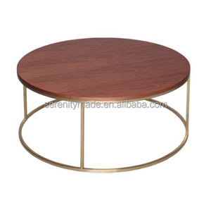 Factory Price Solid Wood Coffee Table With Gold Metal Frame