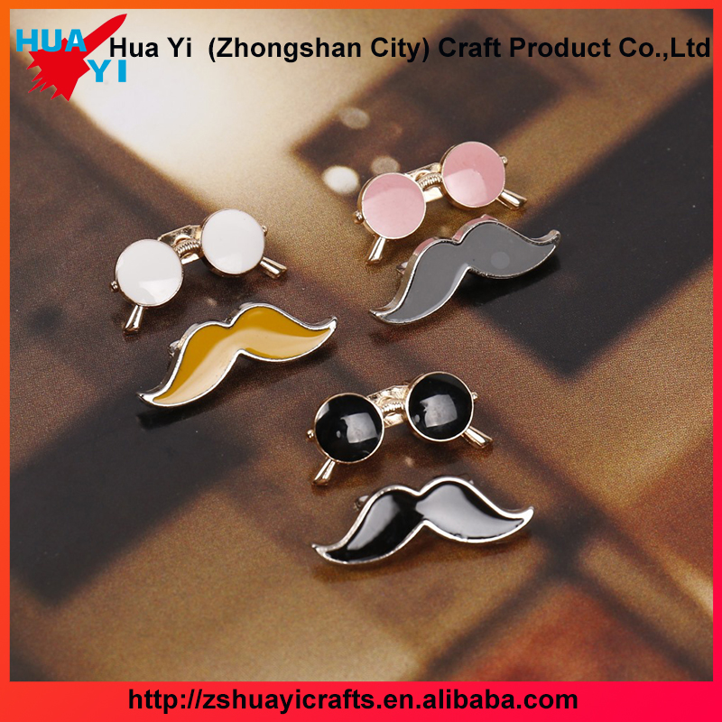 Cheap Jewelry Circle Mustache Brooch Pins Glasses Brooch Pins