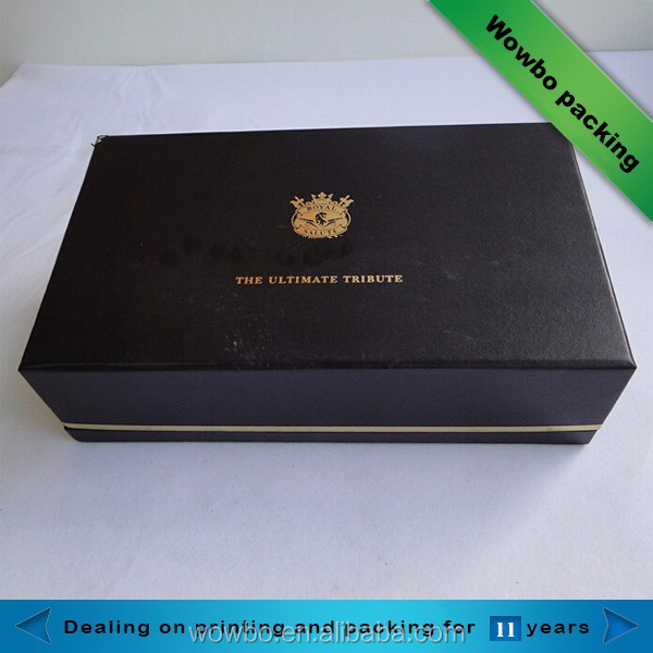 royal black matt lamination custom wine glass gift packaging box with foam insert