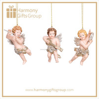 Little Angel Figurines Gift Favors Cherub with Flute and Drum