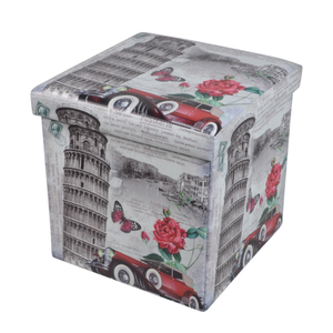 New style home storage stools & ottomans foldable printing square leather ottoman pouf