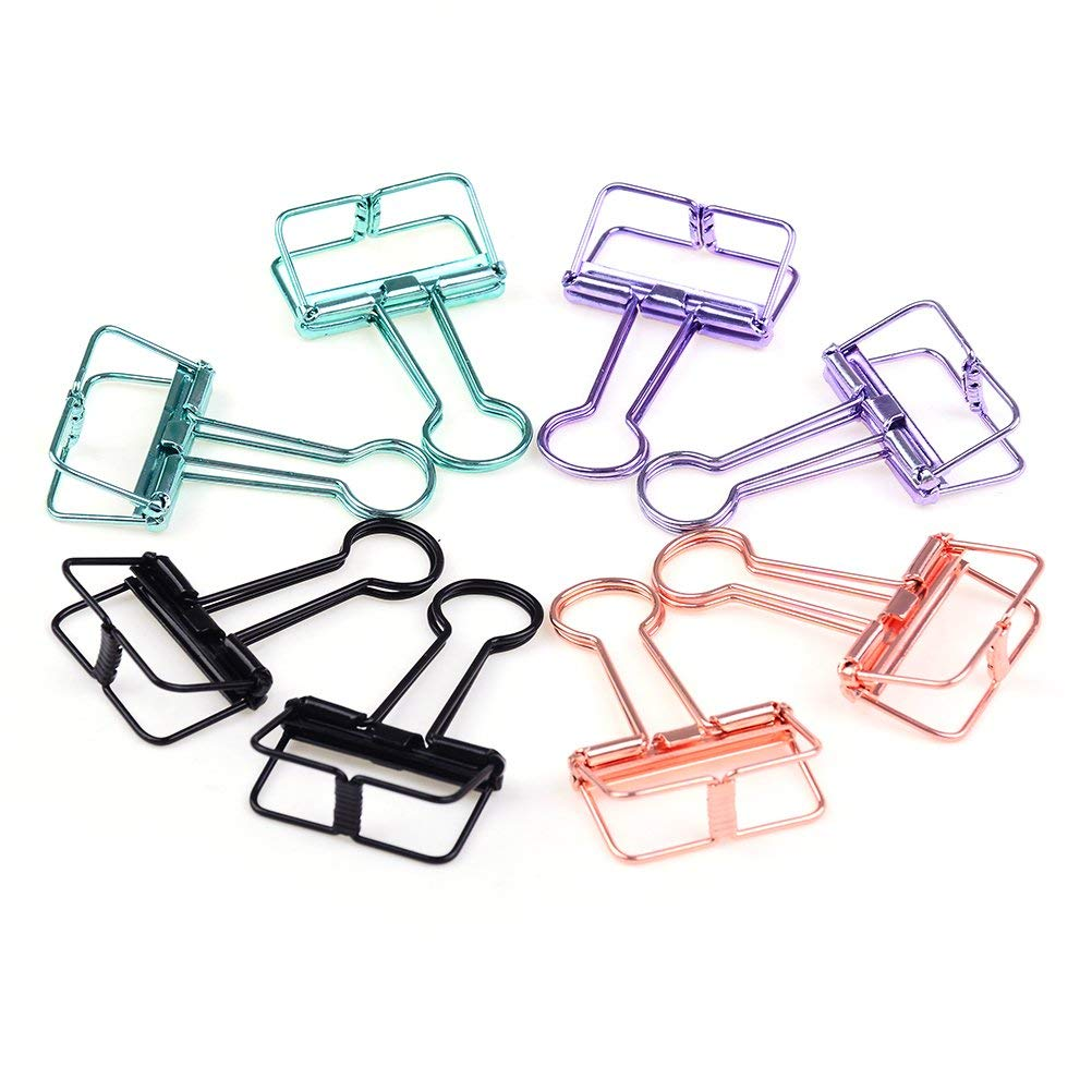 CosCosX Wire Binder Clips Metal Foldback Paper Clamps for Notes Letter Paper Clip Office Supplies Medium,8 Pcs,4 Colors