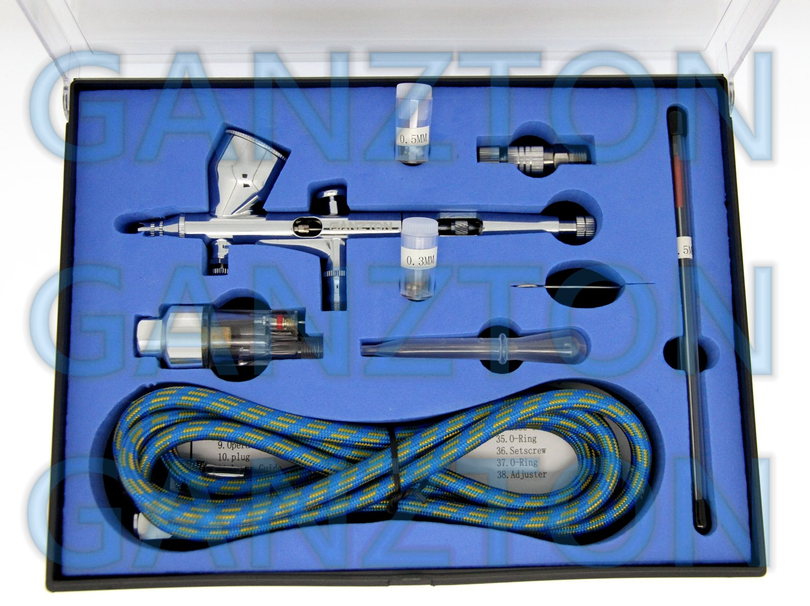 GANZTON 180K Airbrush Kit Dual Action Air Brush Kit Spray Gun Air Hose with 0.2mm/0.3mm/0.5mm Needle for Tattoo Cake Decorating Nail Beauty Painting Starter