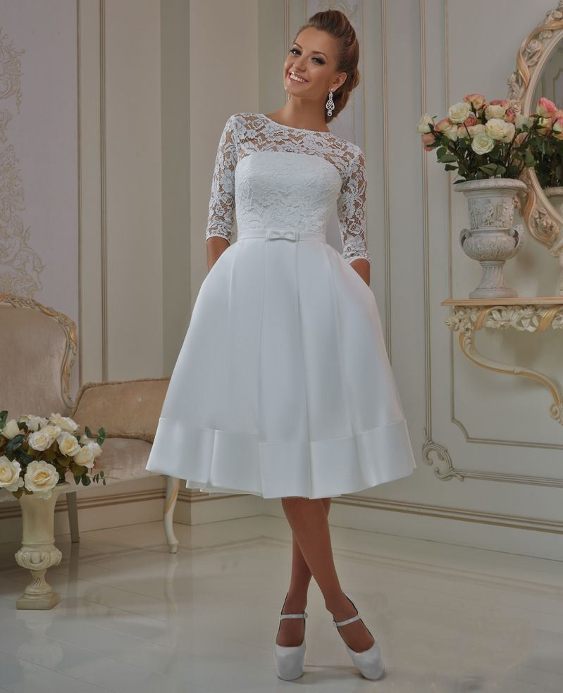 Simple Wedding Dresses With Sleeves: Elegant Lace Sleeve Short Wedding Dresses 2016 Scoop Neck