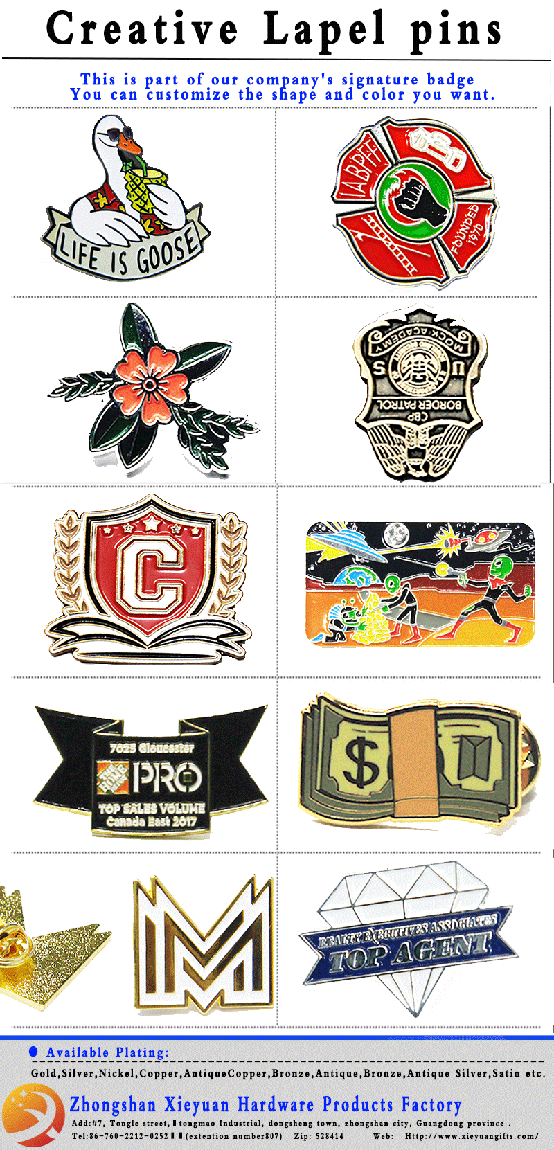Promotion Cheap Custom Metal 3D Souvenir Lapel Pin arm badge