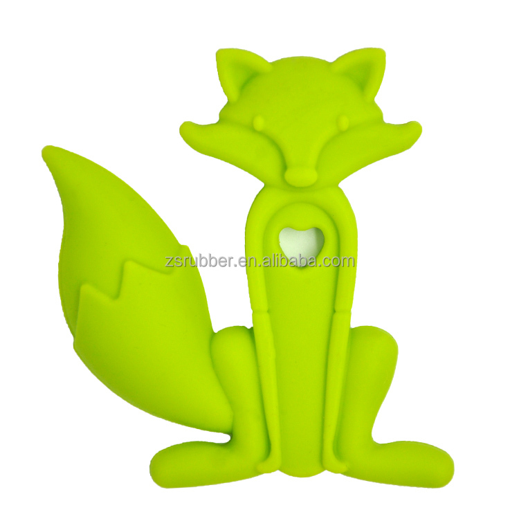 Chewable teething silicone safe for baby fox silicone teething pendant