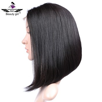Nice day cut bob rambut lurus bergelombang rambut manusia wig untuk wanita  hitam fecd43eece